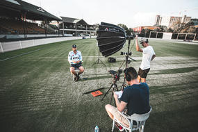 Director Lachlan Ross interviewing Nathan Lyon