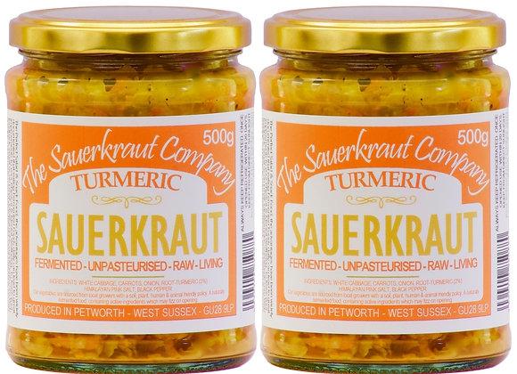 Turmeric Barrel Aged Fermented Sauerkraut (2 x 500g) Unpasterised