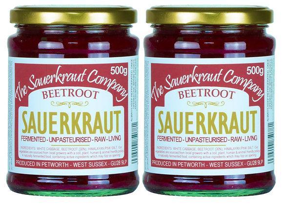 Barrel Aged Fermented Sauerkraut with Beetroot (2x500g) Unpasterised