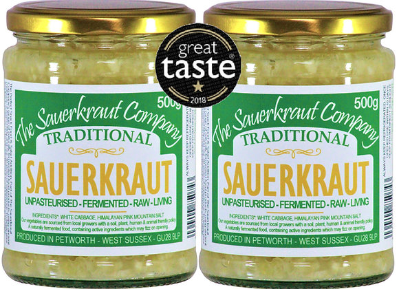 Award Winning Barrel Aged Traditional Sauerkraut (2x500g) Unpasteurised