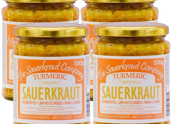 NEW!! Turmeric Barrel Aged Fermented Sauerkraut (4 x 500g) Unpasterised