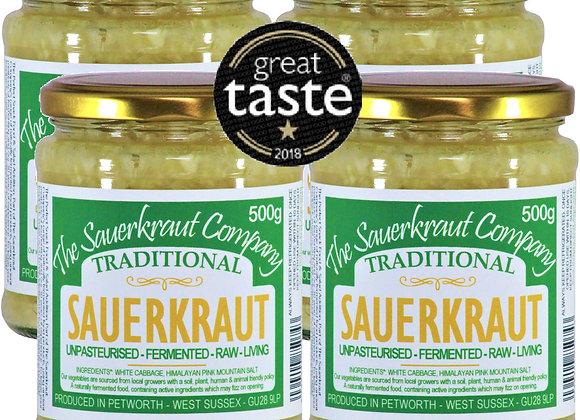 Award Winning Barrel Aged Traditional Sauerkraut (4x500g) Unpasteurised