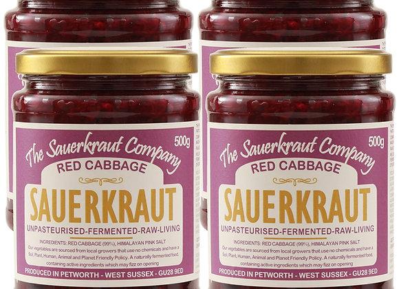 Barrel Aged Fermented Red Cabbage Sauerkraut (4x500g) Unpasteurised & Living