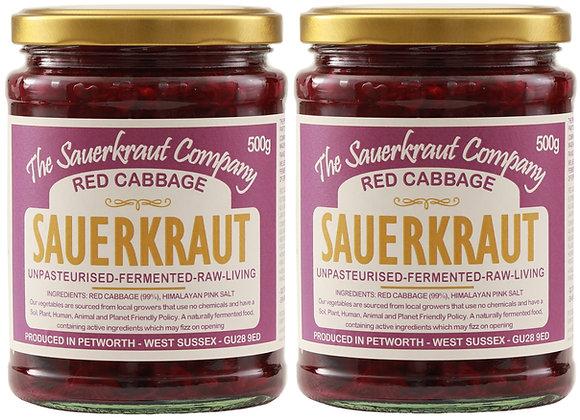 Barrel Aged Fermented Red Cabbage Sauerkraut (2x500g) Unpasteurised & Living