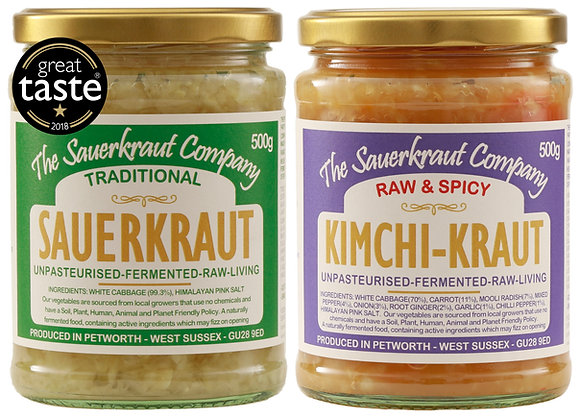 Award Winning Barrel Aged Sauerkraut & Kimchi Kraut (1+1 500g) Unpasteurised