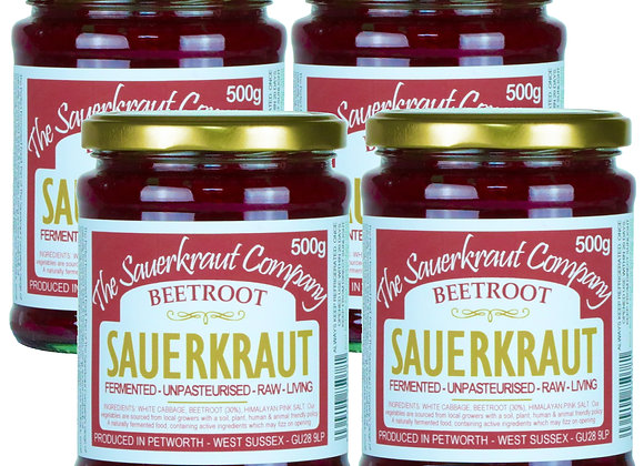 Barrel Aged Fermented Sauerkraut with Beetroot (4x500g) Unpasterised