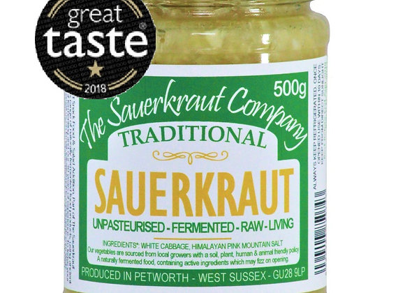 Award Winning Barrel Aged Traditional Sauerkraut (1x500g) Unpasteurised