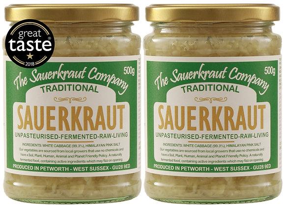 Award Winning Barrel Aged Traditional Sauerkraut (2x500g) Unpasteurised
