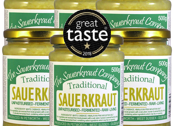 Award Winning Barrel Aged Traditional Sauerkraut (6x500g) Unpasteurised