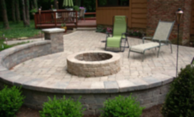 Fire Pit Landscaping Tri-States Dubuque mulch gravel lawn care snow removal sod bricks flowers pavers hedge trimming