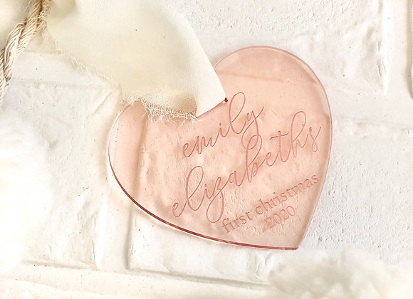 Personalized heart ornament, baby's first Christmas, ornament with etched name,