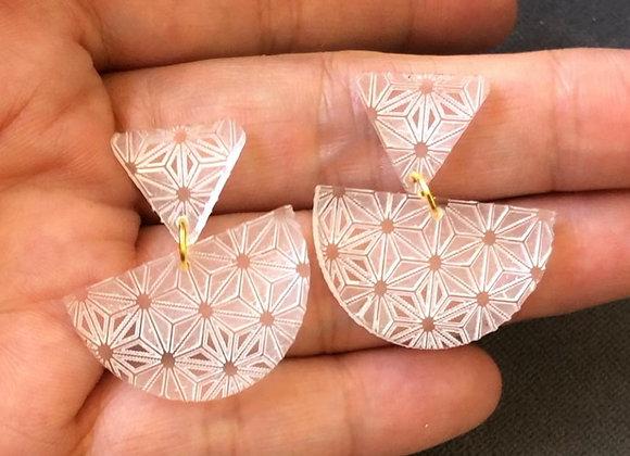 Acrylic arch earrings, purple and clear statement earrings for pierced ears