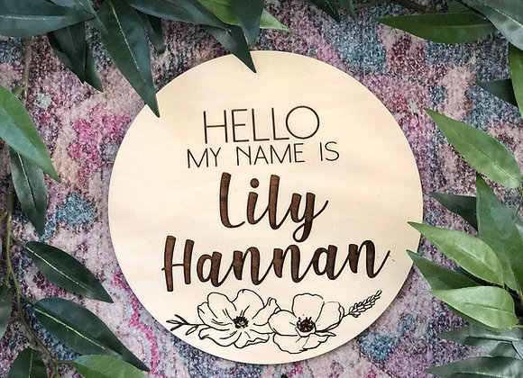 Hello My Name Is Sign for Baby, Wood Baby Name Sign With Flowers
