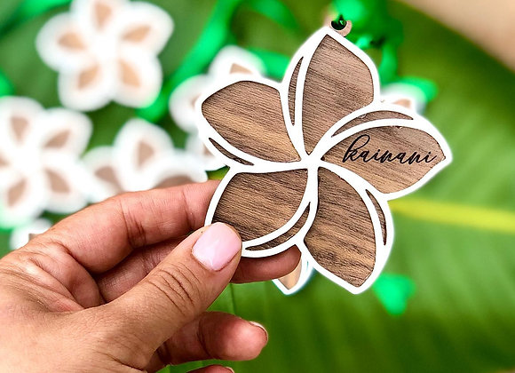 Wood Engraved Plumeria Christmas Ornament
