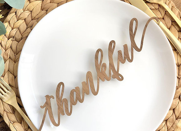 Thanksgiving place setting, thankful laser cut, blessed laser cut, grateful plac