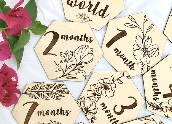 Floral Baby Monthly Milestone Markers