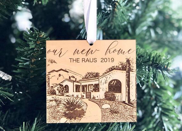 Wood Engraved Our First Home Ornament for Christmas Tree, Custom Christmas Ornam