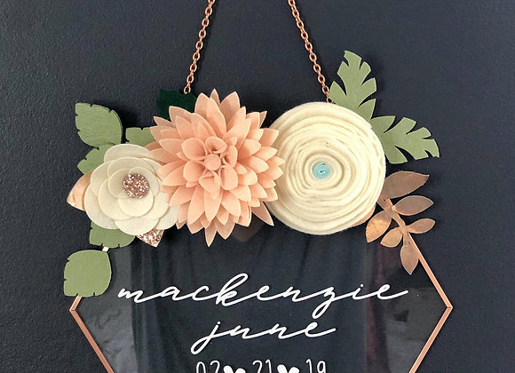 Geometric Glass Name Sign With Flowers