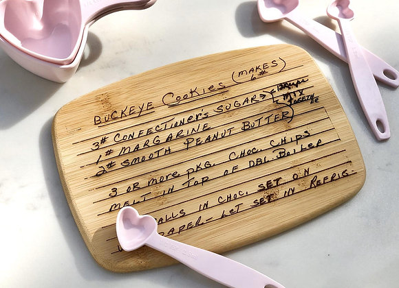 Handwritten recipe cutting board, preserve family recipes