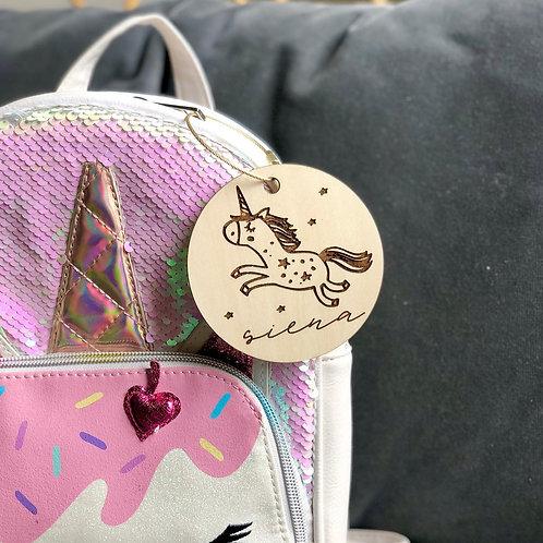 Unicorn Backpack Tag