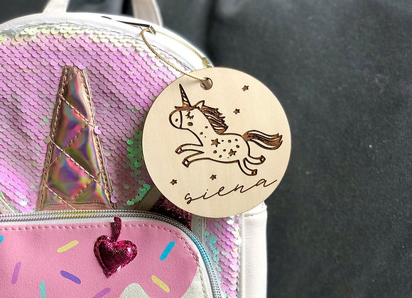 Unicorn Backpack Tag
