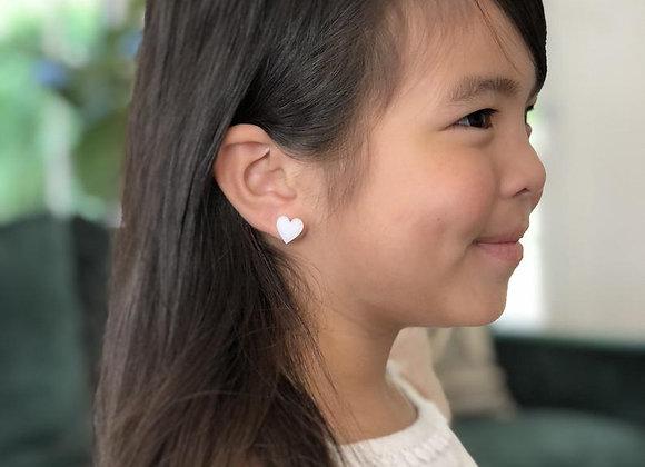 Acrylic Heart Earrings, Heart Stud Earrings, Earrings for Little Girls, Glitter