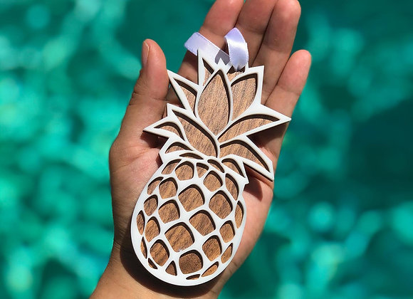 Wood Engraved Pineapple  Christmas Ornament