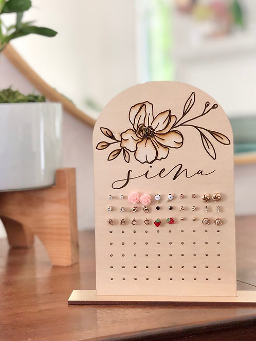 Wood Earring Display with Engraved Name and Floral Detail