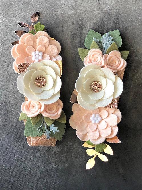 Curtain Tie Backs (SET OF 2) with Felt Flowers