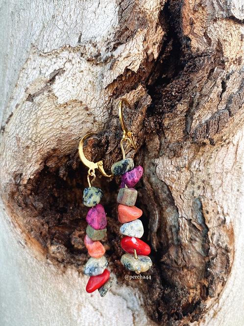 Pendientes piedra multicolor