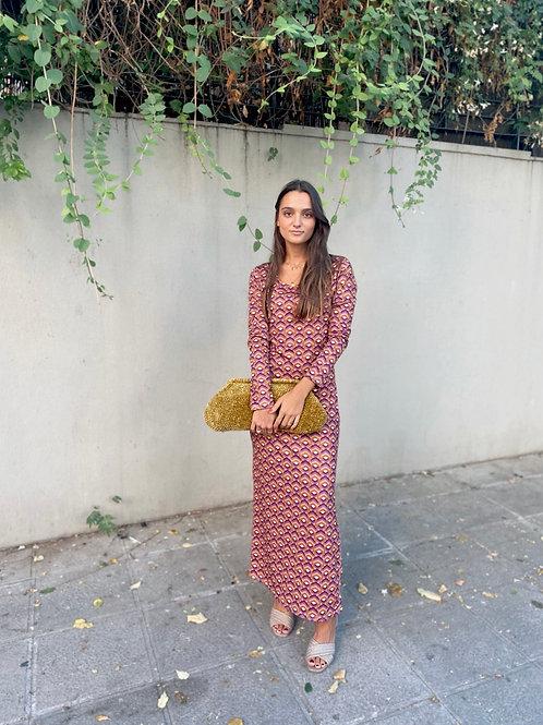 Vestido estampado morado