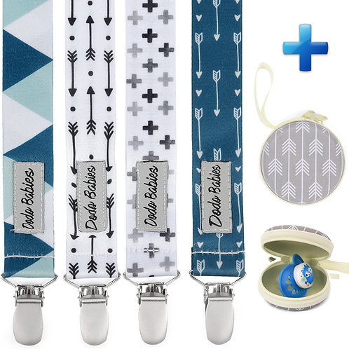Pacifier Clip Set + Pacifier Case + Gift Bag For Boys