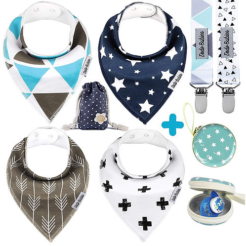 4 Baby Bandana Bibs Set + 2 Pacifier Clips + Pacifier Case For Boy