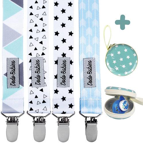 Pacifier Clip Set + Pacifier Case + Gift Bag For Boys
