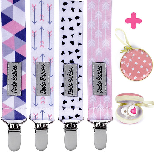 Pacifier Clip Set + Pacifier Case + Gift Bag For Girls