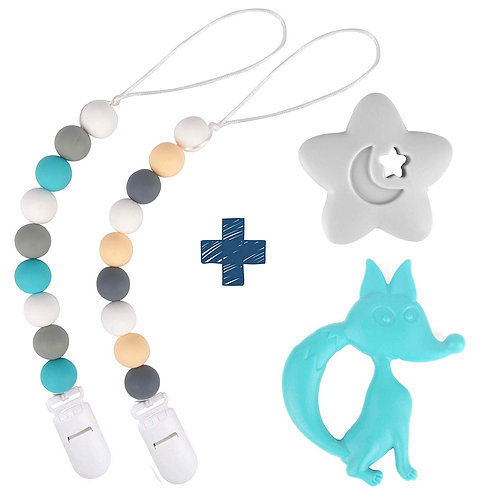 Silicone Pacifier Clip by Dodo Babies Pack of 2 + Teething Toy