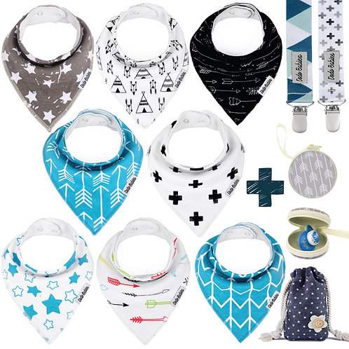 8 Baby Bandana Bibs Set + 2 Pacifier Clips + Pacifier Case For Boys
