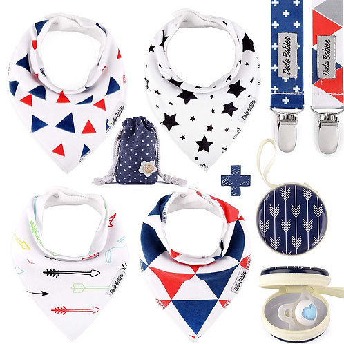 4 Baby Bandana Bibs Set + 2 Pacifier Clips + Pacifier Case For Boys