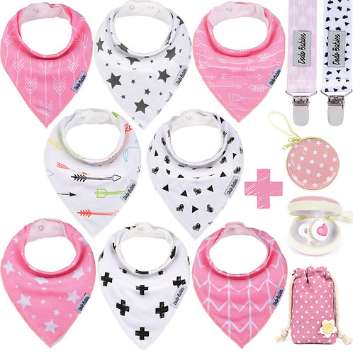 8 Baby Bandana Bibs Set + 2 Pacifier Clips + Pacifier Case For Girls