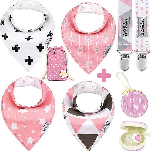 Baby Bandana Bibs Set + 2 Pacifier Clips + Pacifier Case For Girls4