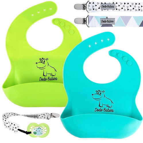 2 Baby Silicone Bib by Dodo Babies + 2 Pacifier Clips