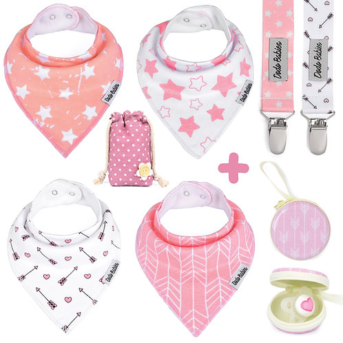 4 Baby Bandana Bibs Set + 2 Pacifier Clips + Pacifier Case For Girls