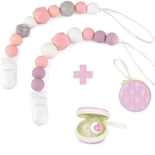 Silicone Pacifier Clip by Dodo Babies Pack of 2 + Pacifier Case For Girls