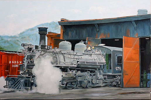 Oil paintng of antique steam engine in Colorado.