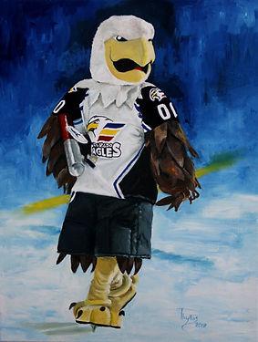 Colorado Eagles mascot, Slapshot, ready to shoot shirts into crowd.
