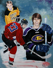 Painting of Tyler Paulk playing hockey throughout his childhood. Hockey in high school.