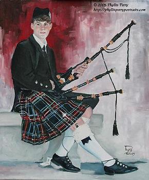 Jennifyr Doermann with bag pipes in her kilt.