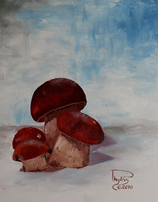 painting of mushrooms gathered in northern Minnesota.