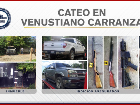 Aseguran armas y camionetas en Venustiano Carranza