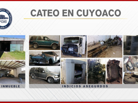 Asegura FGE en Cuyoaco inmueble con unidades y autopartes